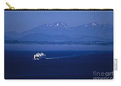 Ferry Boat In Puget Sound With Olympic Mountains Carry-all Pouch