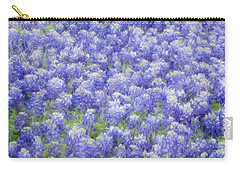 Carry-all Pouch featuring the photograph Field Of Bluebonnets by Kathy Churchman
