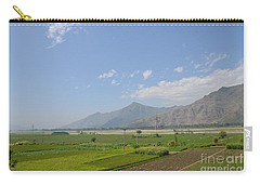 Carry-all Pouch featuring the photograph Fields Mountains Sky And A River Swat Valley Pakistan by Imran Ahmed