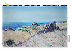 Carry-all Pouch featuring the painting Fields With Rocks And Sea by Asha Carolyn Young