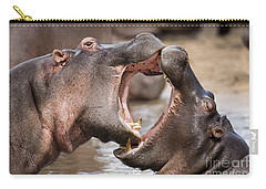 Fighting Hippos Carry-all Pouch by Richard Garvey-Williams