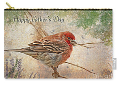 Finch Greeting Card Father's Day Carry-all Pouch by Debbie Portwood