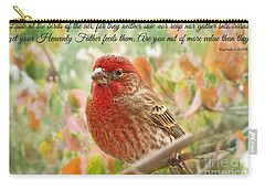 Finch With Verse New Version Carry-all Pouch by Debbie Portwood