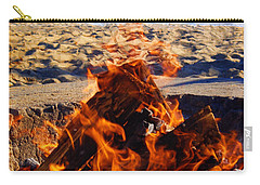 Carry-all Pouch featuring the photograph Fire At The Beach by Mariola Bitner