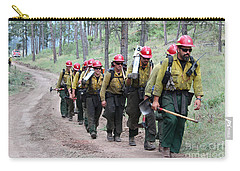 Carry-all Pouch featuring the photograph Fire Crew Walks To Their Assignment On Myrtle Fire by Bill Gabbert