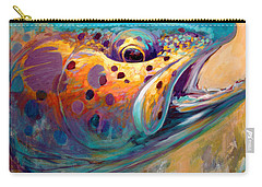 Fire From Water - Rainbow Trout Contemporary Art Carry-all Pouch by Savlen Art