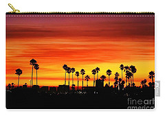 Carry-all Pouch featuring the photograph Fire Sunset In Long Beach by Mariola Bitner