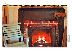 The Family Hearth - Fireplace Old Rocking Chair Carry-all Pouch by Rebecca Korpita
