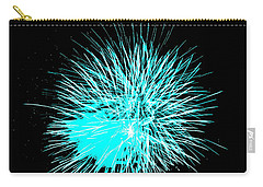 Carry-all Pouch featuring the photograph Fireworks In Blue by Michael Porchik