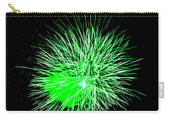 Carry-all Pouch featuring the photograph Fireworks In Green by Michael Porchik
