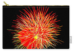 Carry-all Pouch featuring the photograph Fireworks In Red And Yellow by Michael Porchik