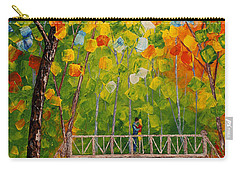 Carry-all Pouch featuring the painting First Kiss On The Bridge Original Acrylic Palette Knife Painting by Georgeta Blanaru