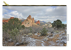 Carry-all Pouch featuring the photograph First Snow At Garden Of The Gods by Diane Alexander