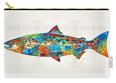 Fish Art Print - Colorful Salmon - By Sharon Cummings Carry-all Pouch