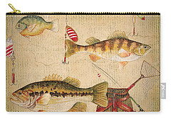 Fish Trio-a-basket Weave Border Carry-all Pouch by Jean Plout