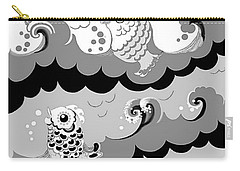 Carry-all Pouch featuring the digital art Fish Waves by Carol Jacobs
