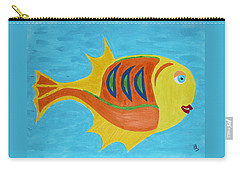 Carry-all Pouch featuring the mixed media Fishie by Deborah Boyd
