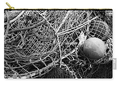 Carry-all Pouch featuring the photograph Fishing Nets And Floats Monochrome by Jane McIlroy
