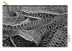 Carry-all Pouch featuring the photograph Fishing Nets Monochrome by Jane McIlroy