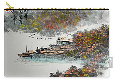 Carry-all Pouch featuring the photograph Fishing Village In Autumn by Yufeng Wang