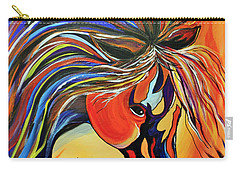 Carry-all Pouch featuring the painting Flame Bold And Colorful War Horse by Janice Rae Pariza