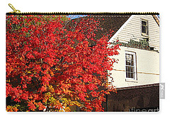Carry-all Pouch featuring the photograph Flaming Fall Colours On Farm House by Nina Silver