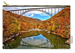 Flaming Fall Foliage At New River Gorge Carry-all Pouch by Adam Jewell