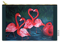 Flamingo Love. Inspirations Collection. Special Greeting Card Carry-all Pouch by Oksana Semenchenko