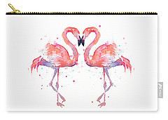 Flamingo Love Watercolor Carry-all Pouch by Olga Shvartsur