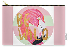 Flamingo On Stripes Round Carry-all Pouch
