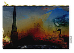Carry-all Pouch featuring the digital art Flamingo Pink Gone by Cathy Anderson