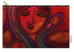 Carry-all Pouch featuring the digital art Flamingoes- Mural Style by Latha Gokuldas Panicker