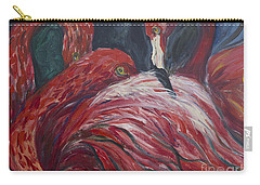 Carry-all Pouch featuring the painting Flamingos by Avonelle Kelsey