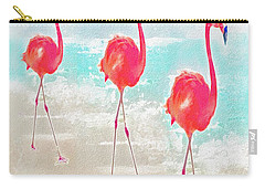 Carry-all Pouch featuring the digital art Flamingos On The Beach by Jane Schnetlage