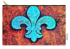 Carry-all Pouch featuring the photograph Fleur De Lis Rustic by Janine Riley