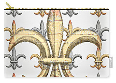 Fleur De Lys Silver And Gold Carry-all Pouch by Barbara Chichester