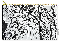 Carry-all Pouch featuring the drawing Floating Zen by Beverley Harper Tinsley