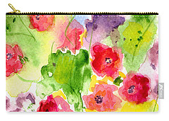 Carry-all Pouch featuring the painting Floral Fantasy by Paula Ayers