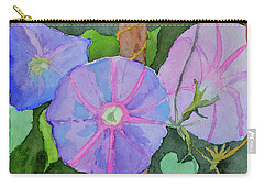 Carry-all Pouch featuring the painting Florence's Morning Glories by Beverley Harper Tinsley
