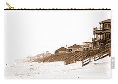 Florida Beach Sepia Print Carry-all Pouch by Charles Beeler