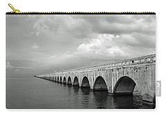 Florida Keys Seven Mile Bridge Black And White Carry-all Pouch