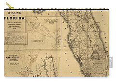 Florida Map Art - Vintage Antique Map Of Florida Carry-all Pouch by World Art Prints And Designs