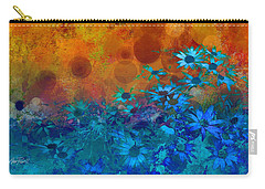 Flower Fantasy In Blue And Orange  Carry-all Pouch