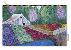 Flower Farm -poppies Daisies Lavender Whimsical Painting Carry-all Pouch by Ella Kaye Dickey