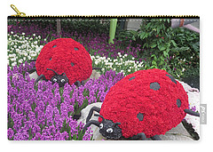 Carry-all Pouch featuring the photograph Flower Garden Ladybug Purple White I by Navin Joshi