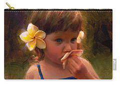 Flower Girl - Tropical Portrait With Plumeria Flowers Carry-all Pouch by Karen Whitworth