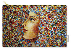 Carry-all Pouch featuring the painting Flower Goddess. by Natalie Holland