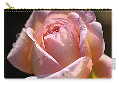 Flower-pink And Yellow Rose-bud Carry-all Pouch