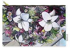 Floral Wreath Carry-all Pouch by Mary Ellen Frazee