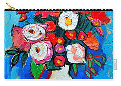 Flowers And Colors Carry-all Pouch by Ana Maria Edulescu